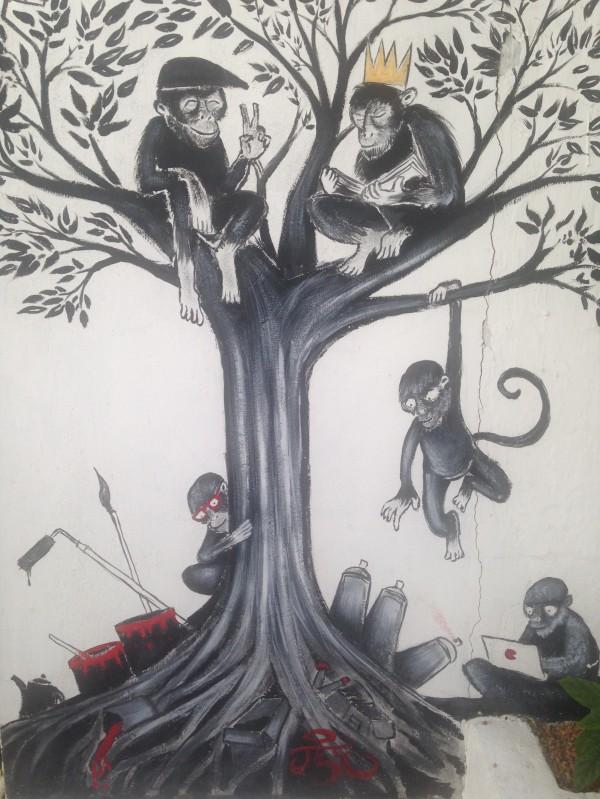 Monkey Graffiti - Café Gallery - Pondi